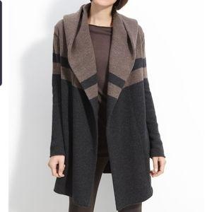 VINCE Colorblock Hooded Blanket Coat
